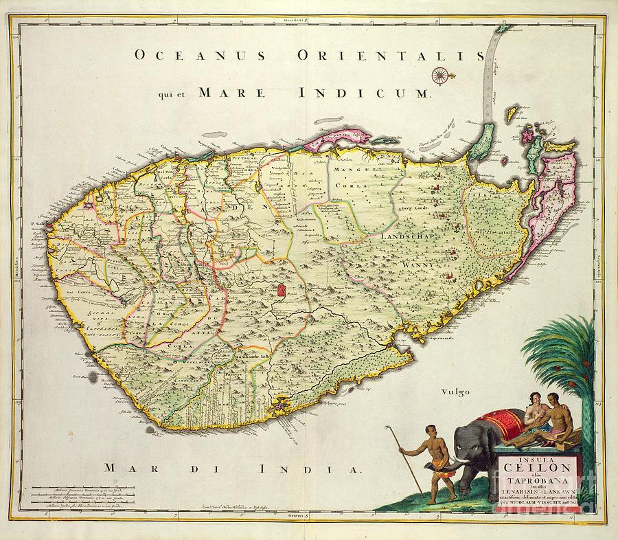 Nation Drawing - Antique Map Of Ceylon by Nicolas Visscher