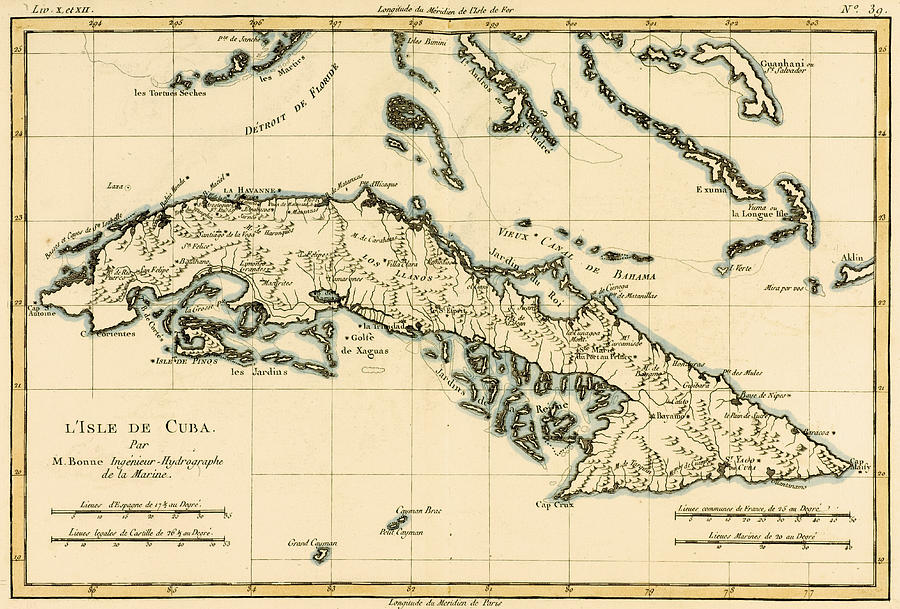 Antique Map Of Cuba Drawing By Guillaume Raynal - Vintage map of cuba
