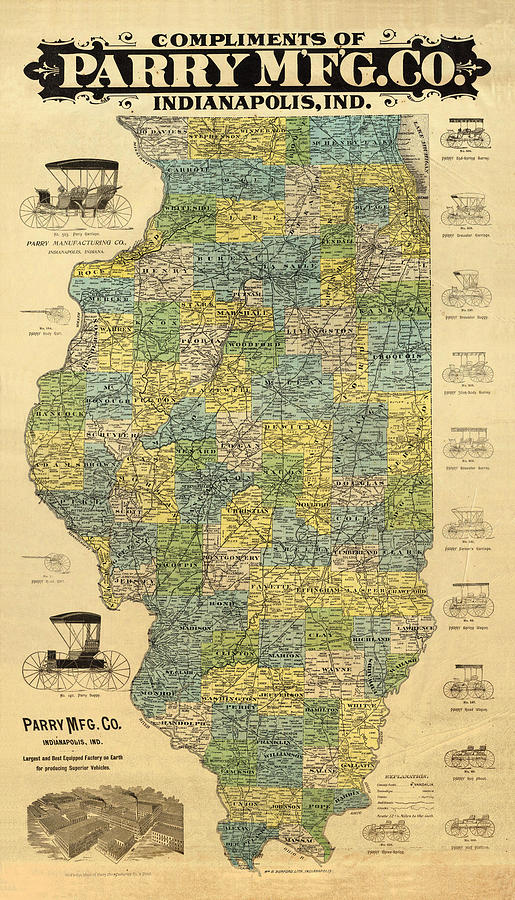 Antique Map Of Indianapolis By The Parry Mfg Company - Historical Map Drawing