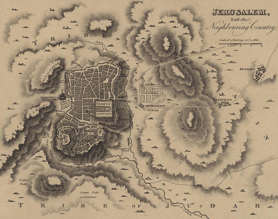 Line Drawing Jerusalem : Antique map of jerusalem drawing by english school