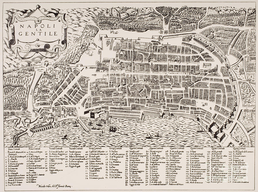 Maps Painting - Antique Map Of Naples by Italian School