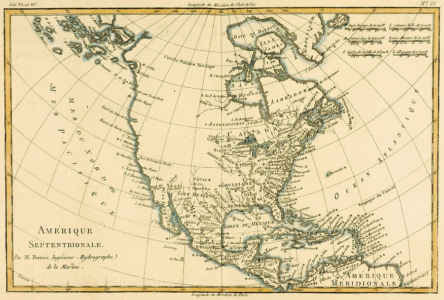 Antique Map Of North America.Antique Map Of North America Drawing By Guillaume Raynal