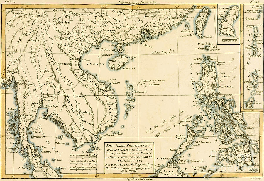 Maps Drawing - Antique Map Of South East Asia by Guillaume Raynal