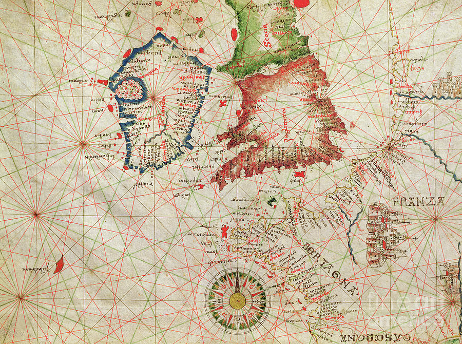 Map Drawing - Antique Map Of The French Coast, England, Scotland And Ireland, From A Nautical Atlas, 1520  by Giovanni Xenodocus da Corfu