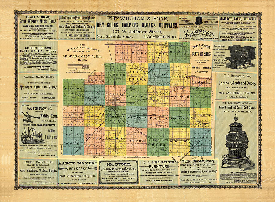 Antique Map Of The Mclean County - Business Advertisements - Historical Map Drawing