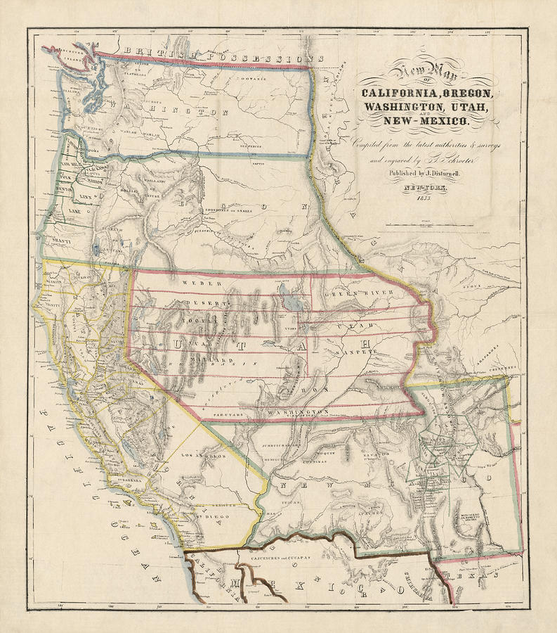 Antique Map Of The Western United States By John Disturnell 1853