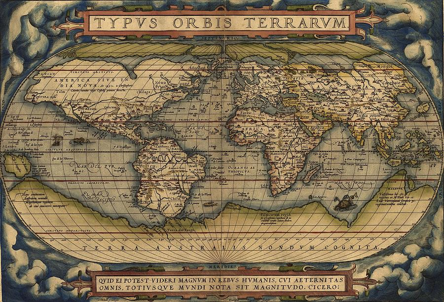Antique Map Of The World Painting by Celestial Images