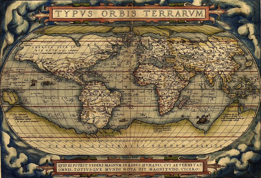 Antique Map Of The World By Abraham Ortelius 1564 Painting By