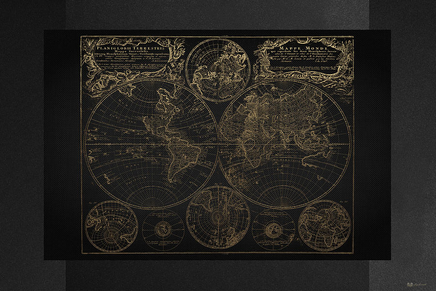 Antique Map Of The World Gold On Black Canvas Digital Art By Serge - Black and gold world map