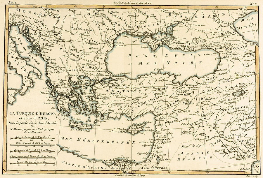 Maps Drawing - Antique Map Of Turkey by Guillaume Raynal