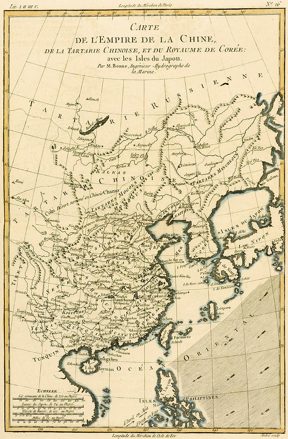 Maps Drawing - Antique Map The Chinese Empire by Guillaume Raynal