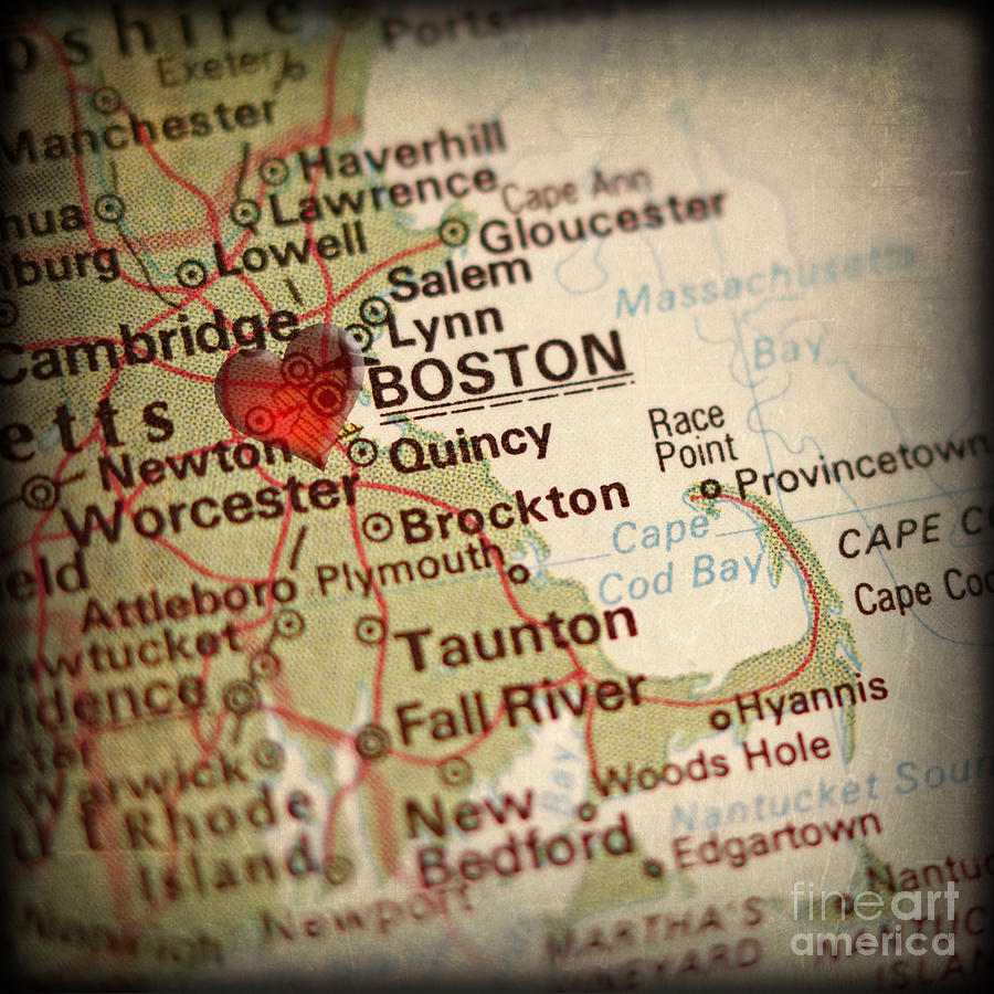 Boston Photograph - Antique Map With A Heart Over The City Of Boston In Massachusett by ELITE IMAGE photography By Chad McDermott