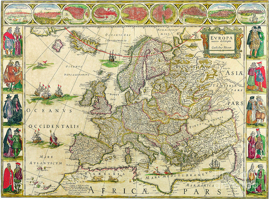 Antique Maps Of The World Map Of Europe Willem Blaeu C Painting - Vintage europe map poster