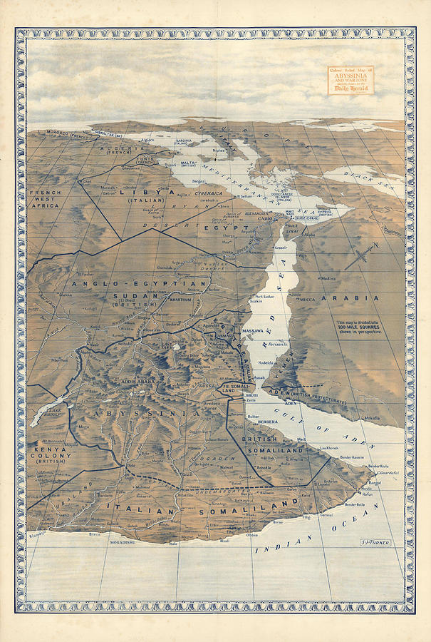 Antique Maps - Old Cartographic Maps - Abyssinia Relief Map, S.j Turner Drawing