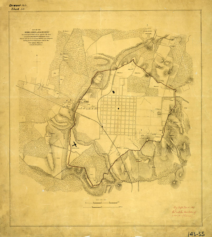 Antique Maps - Old Cartographic Maps - Antique Army Map Of Raleigh, 1865 Drawing