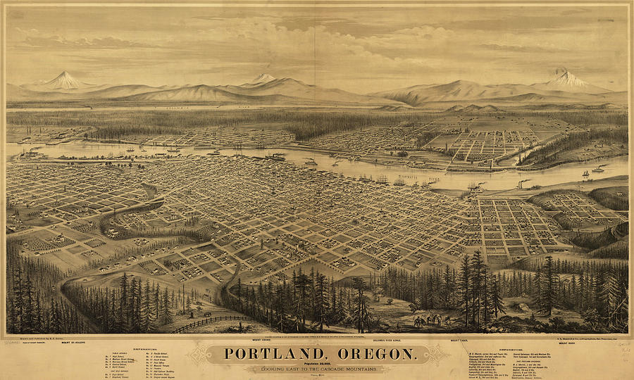 Antique Maps - Old Cartographic Maps - Antique Birds Eye Map Of Portland, Oregon, 1879 Drawing