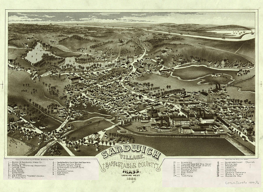 Antique Maps - Old Cartographic Maps - Antique Birds Eye Map Of Sandwich, Massachusetts, 1884 Drawing