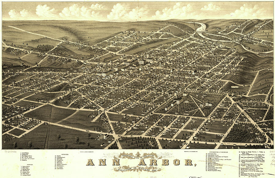 Antique Maps - Old Cartographic Maps - Antique Birds Eye View Map Of Ann Arbor, Michigan, 1880 Drawing