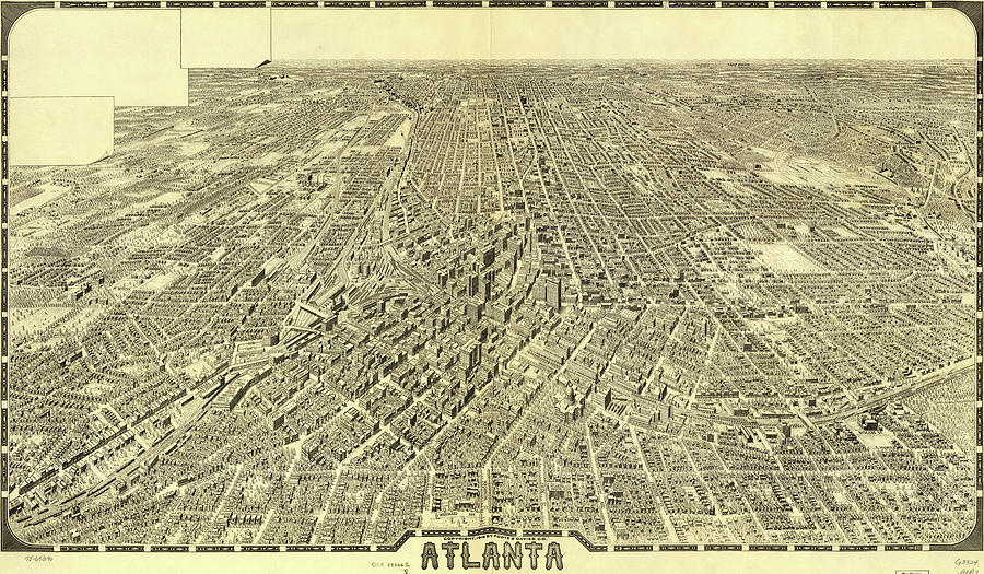 Antique Maps - Old Cartographic Maps - Antique Birds Eye View Map Of Atlanta Drawing