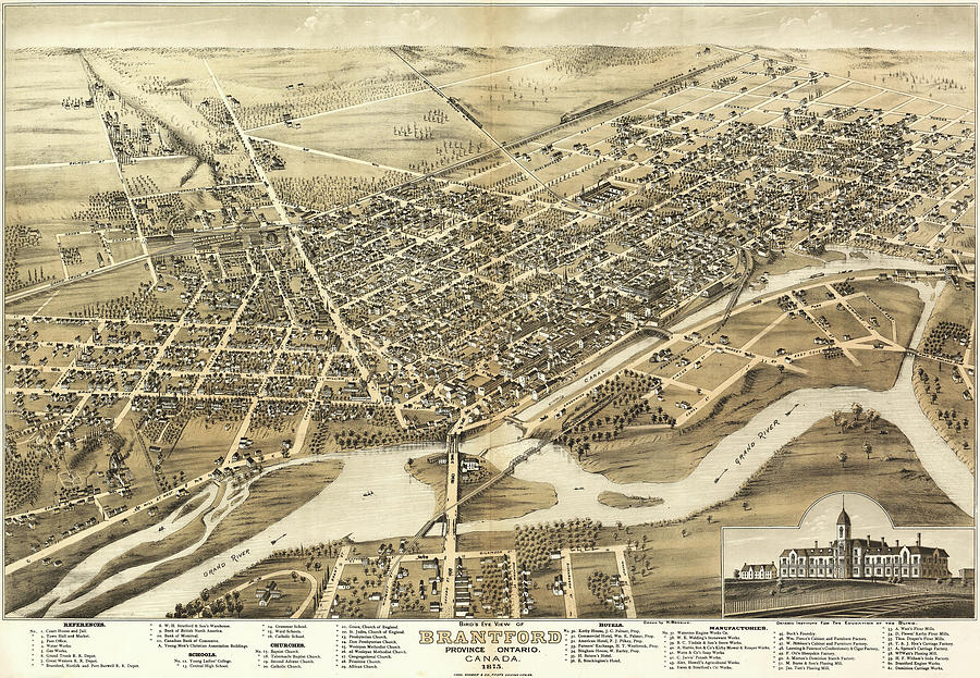 Antique Maps - Old Cartographic Maps - Antique Birds Eye View Map Of Brantford, Canada, 1875 Drawing