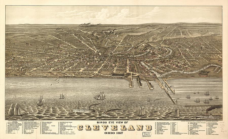 Antique Maps - Old Cartographic Maps - Antique Birds Eye View Map Of Cleveland, Ohio, 1877 Drawing
