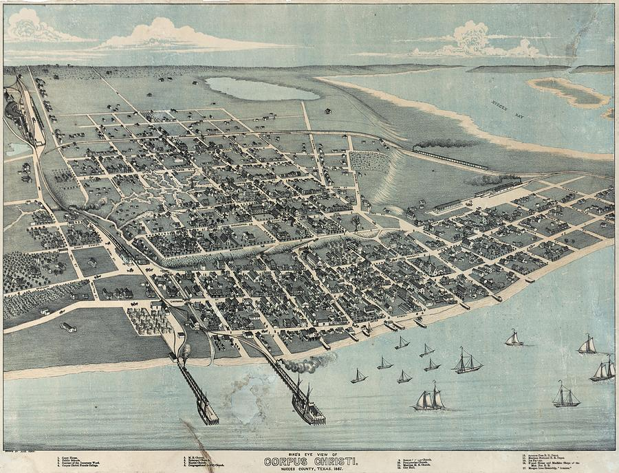 Antique Maps - Old Cartographic Maps - Antique Birds Eye View Map Of Corpus Christi, Texas, 1887 Drawing