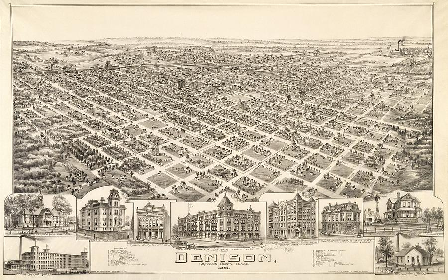 Antique Maps - Old Cartographic Maps - Antique Birds Eye View Map Of Denison, Texas, 1891 Drawing