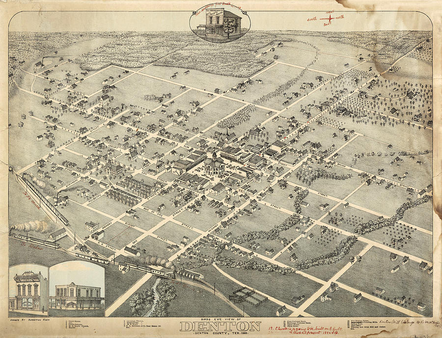 Antique Maps - Old Cartographic Maps - Antique Birds Eye View Map Of Denton, Texas, 1883 Drawing
