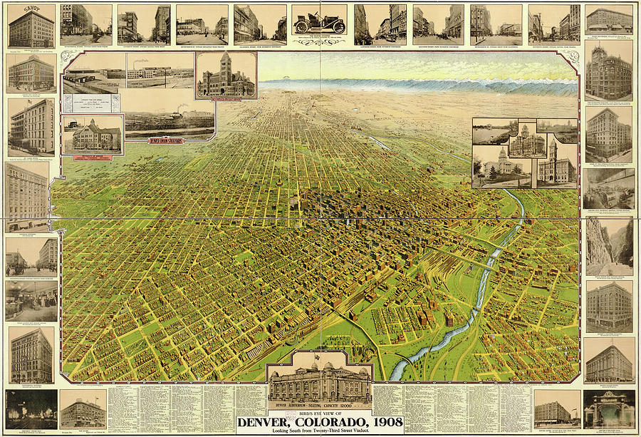 Antique Maps - Old Cartographic Maps - Antique Birds Eye View Map Of Denver, Colorado, 1908 Drawing