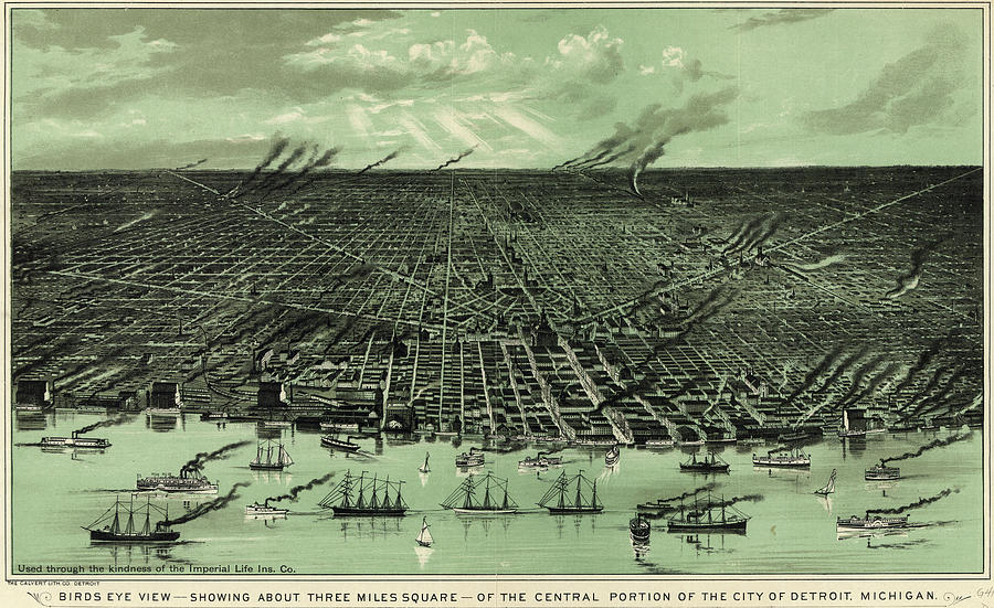 Ships Drawing - Antique Maps - Old Cartographic maps - Antique Birds Eye View Map of Detroit, Michigan by Studio Grafiikka