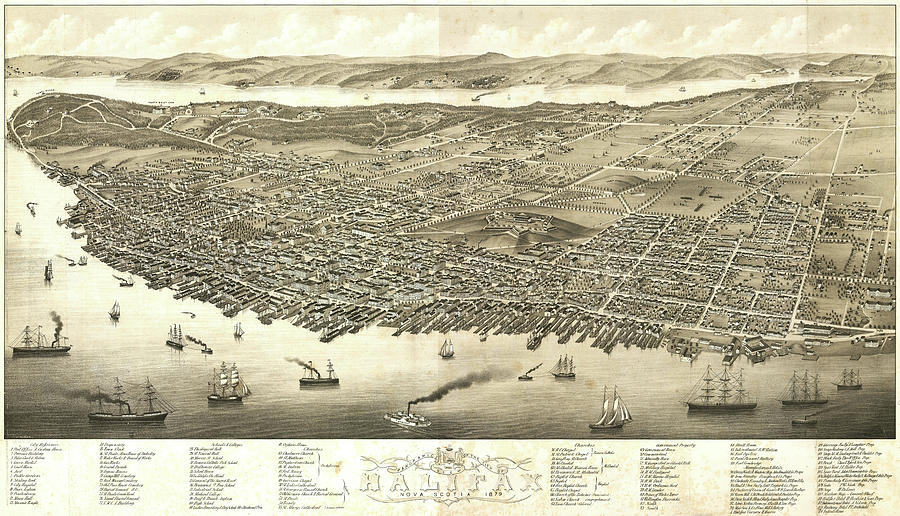 Antique Maps - Old Cartographic Maps - Antique Birds Eye View Map Of Halifax, Nova Scotia, 1879 Drawing