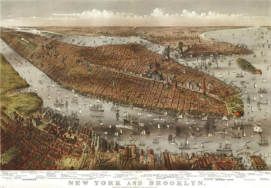 Antique Maps - Old Cartographic Maps - Antique Birds Eye View Map Of Jersey, New York And Brooklyn Drawing