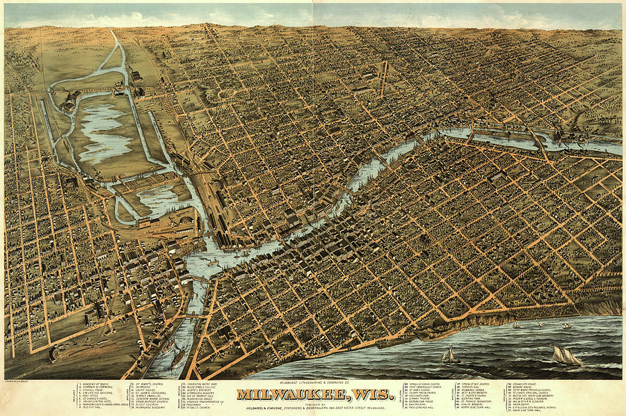 Antique Maps - Old Cartographic Maps - Antique Birds Eye View Map Of Milwaukee, Wisconsin, 1872 Drawing