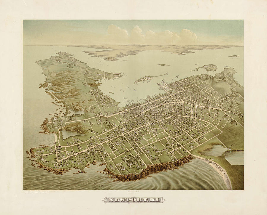 Antique Maps - Old Cartographic Maps - Antique Birds Eye View Map Of Newport, 1878 Drawing