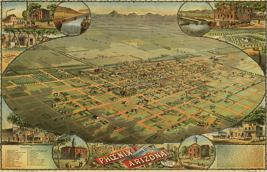 Map Of Old Arizona.Antique Maps Old Cartographic Maps Antique Birds Eye View Map Of Phoenix Arizona By Studio Grafiikka
