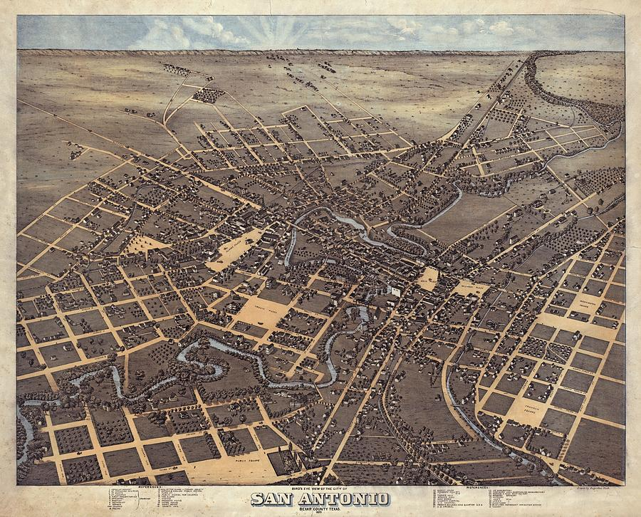 Antique Maps - Old Cartographic Maps - Antique Birds Eye View Map Of San Antonio, Texas, 1873 Drawing