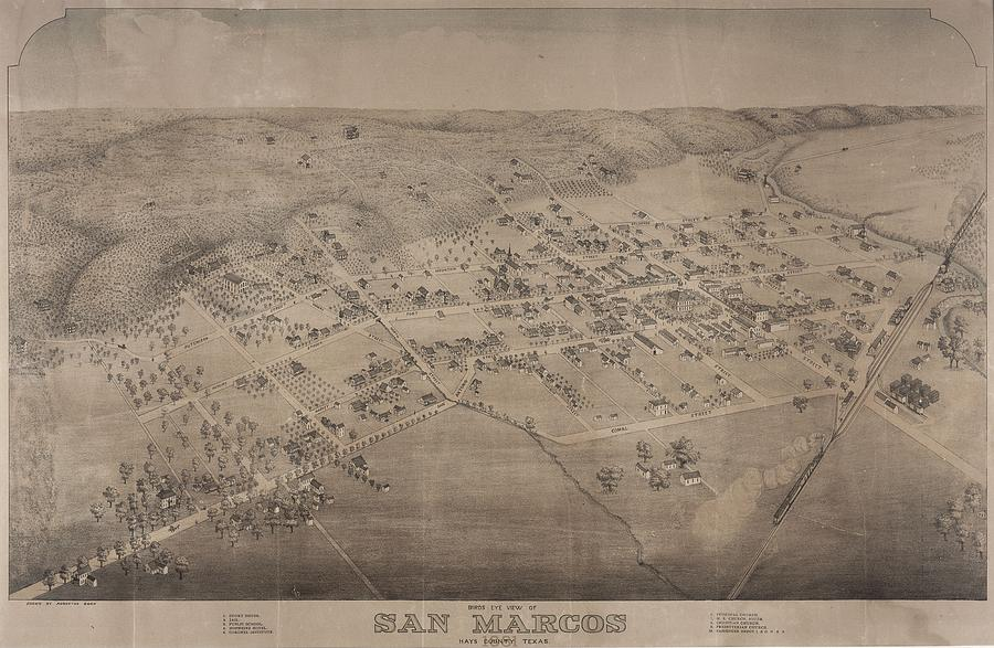Antique Maps - Old Cartographic Maps - Antique Birds Eye View Map Of San Marcos, Texas, 1881 Drawing