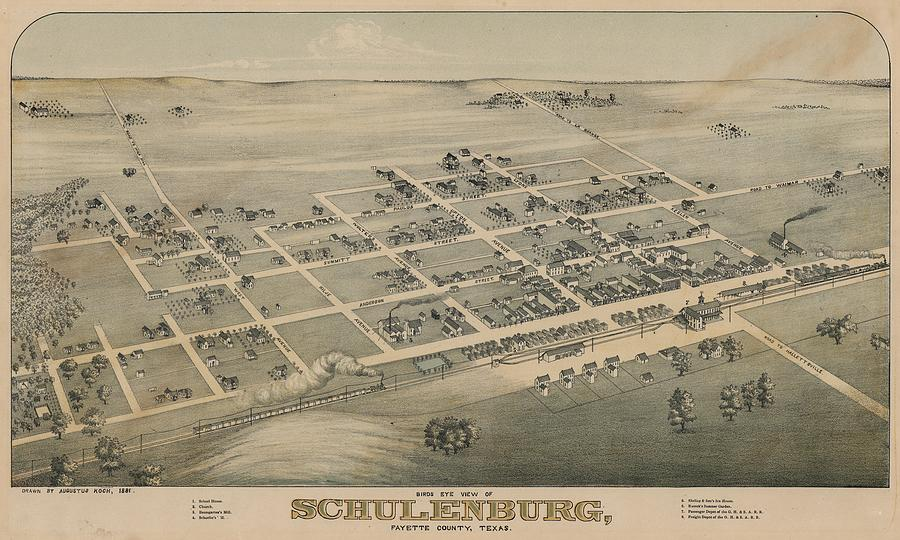 Antique Maps - Old Cartographic Maps - Antique Birds Eye View Map Of Schulenburg, Texas, 1881 Drawing
