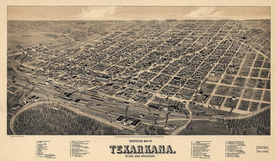 Antique Maps - Old Cartographic Maps - Antique Birds Eye View Map Of Texarkana, Texas 1888 Drawing