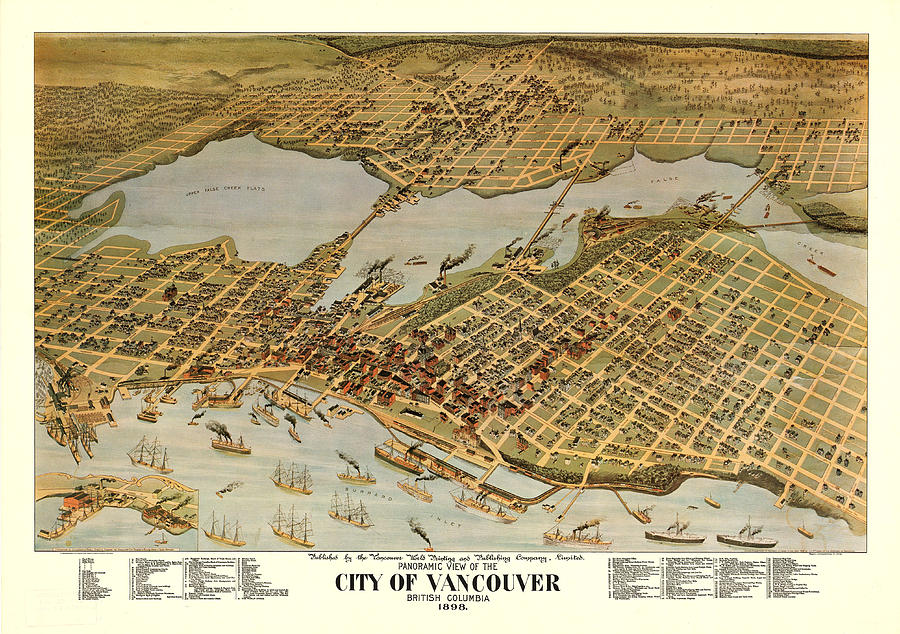 Antique Maps - Old Cartographic Maps - Antique Birds Eye View Map Of The City Of Vancouver, 1898 Drawing