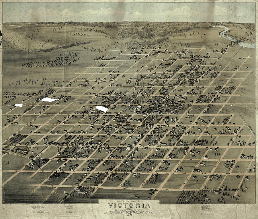 Antique Maps - Old Cartographic Maps - Antique Birds Eye View Map Of Victoria, Texas, 1873 Drawing