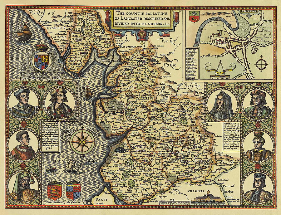 Antique Maps - Old Cartographic Maps - Antique Countie Pallatine Map Of Lancaster, 1610 Drawing