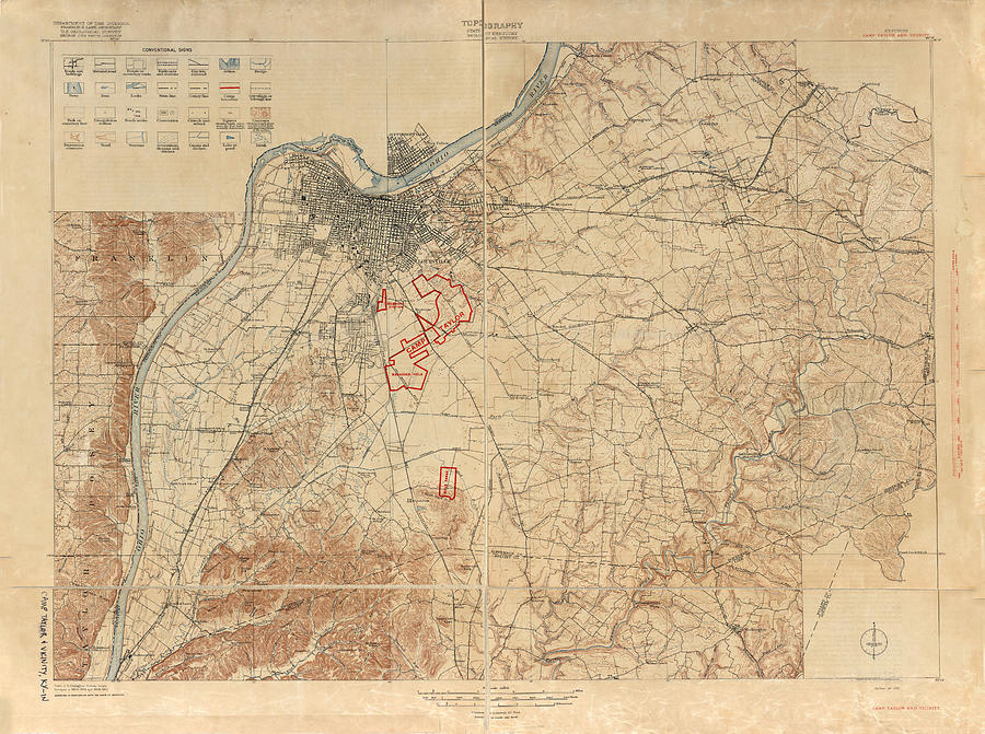 Antique Maps - Old Cartographic Maps - Antique Geological Survey Map Of The State Of Kentucky, 1910 Drawing