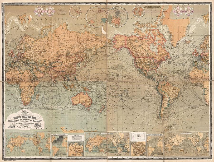 Antique Maps Old Cartographic Maps Antique German Map Of The