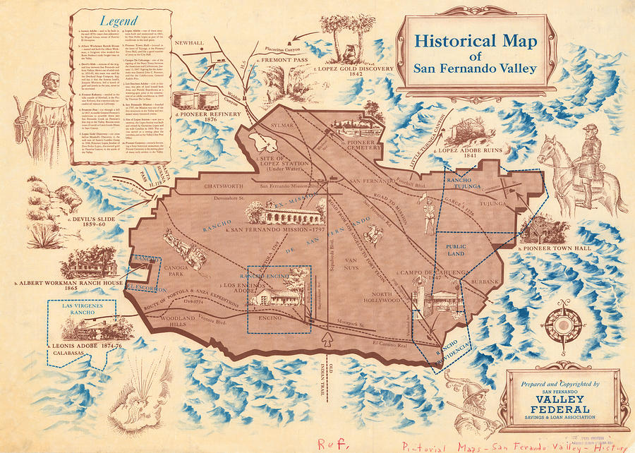 Antique Maps - Old Cartographic Maps - Antique Historical Map Of San Fernando Valley Drawing