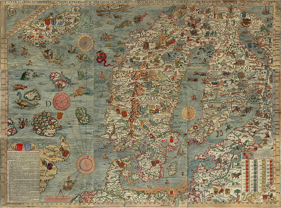 Antique Maps - Old Cartographic Maps - Antique Map Of Scandinavia In Latin, 1539 Drawing