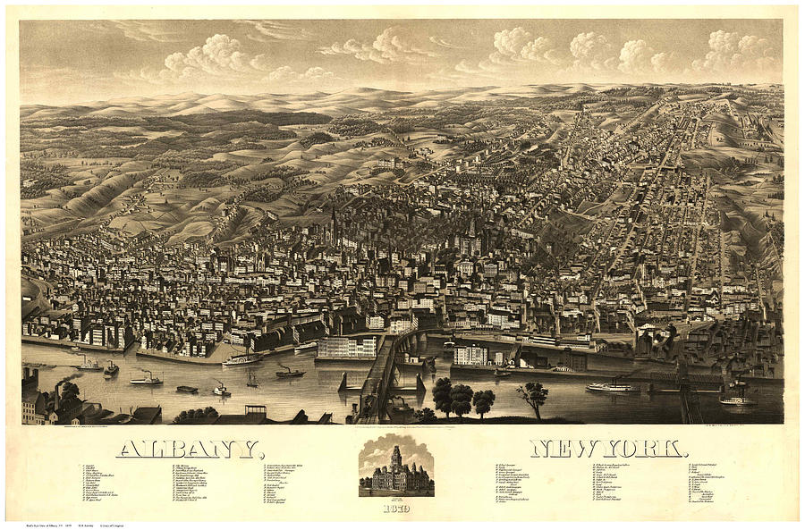 Antique Maps - Old Cartographic Maps - Antique Map Of Albany, New York, 1879 Drawing