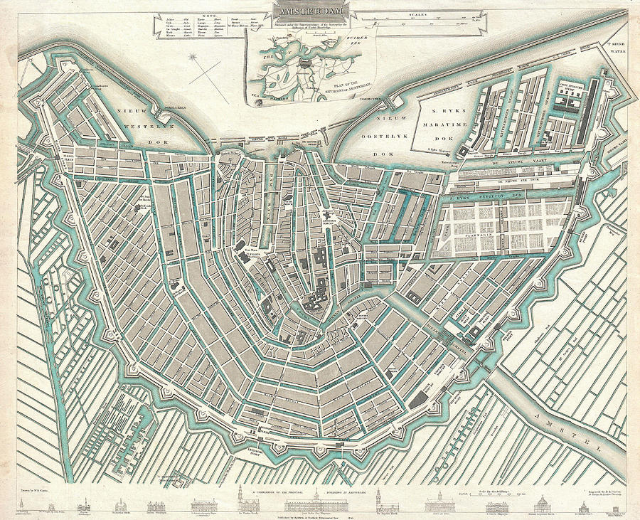 Antique Maps Old Cartographic Maps Antique Map Of Amsterdam - Amsterdam old map