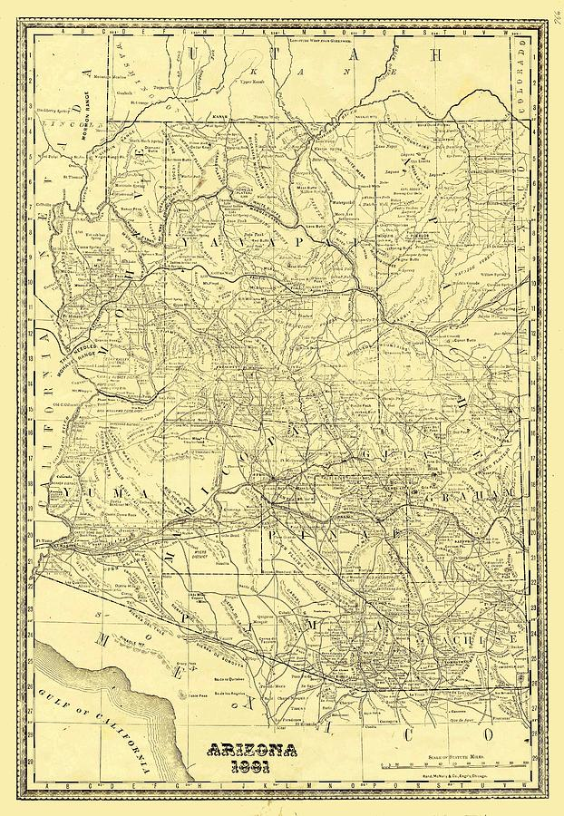 Antique Maps - Old Cartographic Maps - Antique Map Of Arizona, 1881 Drawing