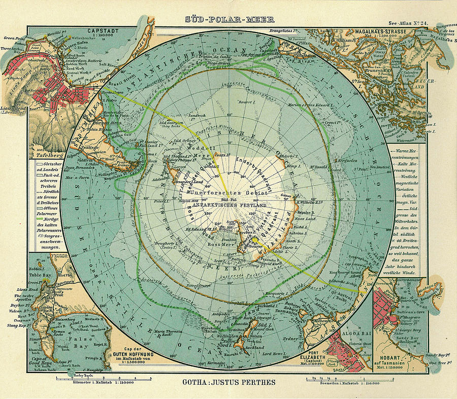 Antique Maps - Old Cartographic Maps - Antique Map Of South Pole And Antarctica In German Drawing